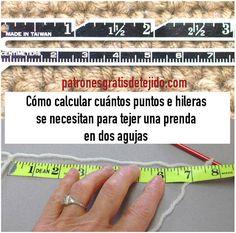 como se calculan los puntos e hileras que se precisan para tejer con dos agujas