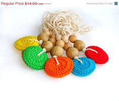 Teether colorful Crochet Beaded natural eco by MiracleFromThreads, $11.90