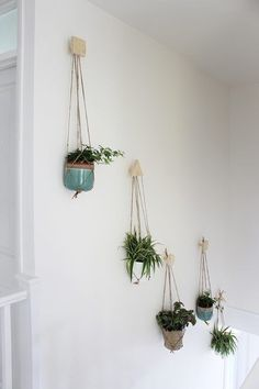 Wall of hanging plants with DIY plywood hooks and macrame hangers Growing Spaces Deco Nature, Deco Floral, Plant Decor, Fake Plants Decor, Stairways, Houseplants, Indoor Plants, Air Plants, Potted Plants