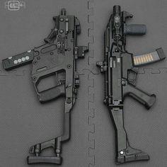 Left Kriss Vector right Skorpion Evo Airsoft Guns, Weapons Guns, Guns And Ammo, Fire Machine, Machine Guns, Submachine Gun, Fire Powers, Cool Guns, Assault Rifle