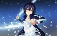 noragami-yato-dual-sword-bandage-blue-eyes-anime