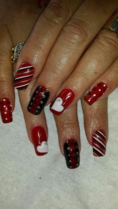 Red & Black Valentyn nails 3D heart handmade done by Karin Esterhuisen Bloemfontein