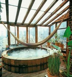 Dreaming of a bath under the stars. jacuzzi whirlpool and hot bathtubs- From Moon to Moon it would be nice to have the hamock in the bath Bohemian House, Bohemian Style Rooms, Bohemian Interior, Boho Gypsy, Hippie Boho, Deco House, Boho Deco, Boho Chic, Bohemian Bathroom