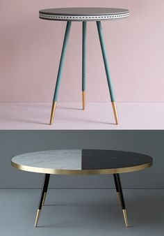 Bethan Gray, leather coffee table, Dip dye coffee table, pastel coffee tables, gold trim side tables, bespoke coffee tables