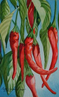 Watercolor Painting  Cayenne Pepper