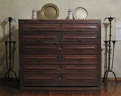 Chest of Drawers for Vestments, 15th Century French Rustic Furniture