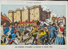 """Manuels anciens : Affiche histoire n°25 """"Les Parisiens attaquent la Bastille"""" stepfan"""
