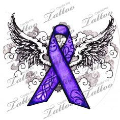I like this also for my dad. The wings signifying he is now my angel and the purple ribbon for pancreatic cancer.