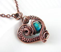 Wire Wrapped Pendant Turquoise Imperial Jasper von PolymerPlayin