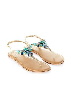 Alethia Stone Thong Sandals | Blue | Accessorize