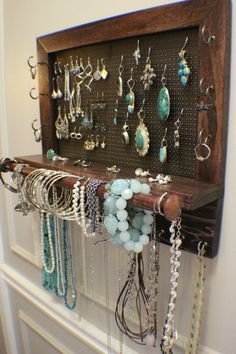 Dark Cherry/Ebony Stained Wall Mounted Jewelry Organizer with Scroll Trim and a Bracelet Bar, Wall Organizer Jewelry Display Necklace Holder on Etsy, $80.00