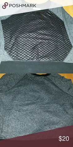 Faux leather front sweatshirt Very cute, only wore 1 time. Air dry only, smoke free home. Mossimo Supply Co Tops Sweatshirts & Hoodies