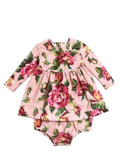 DOLCE & GABBANA - ROSES INTERLOCK DRESS & DIAPER COVER - OUTFITS & SETS - PINK - LUISAVIAROMA