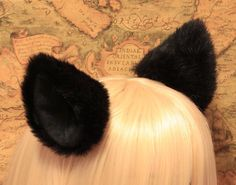Promotion - New 10 cm BLACK long Fur inner BLACK Cat Ear cat ear clip , w or w/o Ribbon, Cosplay Costumes Party on Etsy, $5.88