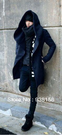 2013 men's winter coat Korean Slim Hooded long section woolen coat jacket free shipping US $39.20