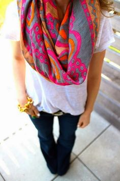 White T-shirt oversize colorful scarf and Bellbottom bluejeans