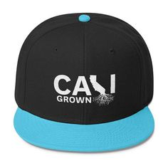 """Wool Blend Snapback """"Cali Grown"""" California Roots Baseball Hat, Cool Hat for Locals 6 Panel Cap, Embroidered Hats, Cool Hats, Snapback, Wool Blend, Roots, Birthday Gifts, Baseball Hats, California"""