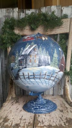 Hp Christmas globe by Phyllis spaw Christmas Globes, Christmas Home, Vintage Christmas, Christmas Ornaments, Halloween Crafts, Holiday Crafts, Painted Globe, Globe Art, Country Christmas Decorations