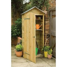 Larchlap Shiplap Tall Garden Store - 204 x 93 x 58 cm   Garden Storage   ASDA direct (nice zinc roof) £159