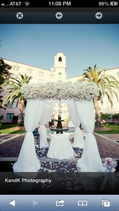 All White Altar And Arch Decor Wedding Ceremony Photos By Kandk Photography