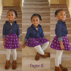 Blue Jean button up long sleeve shirt Polka dot tulle layered skirt Gray tights Mocassin shoes Purple cat ears headband  Hair:  High ponytail with twist out #kidsfashion Kids fashion
