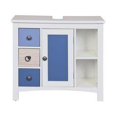 Waschbeckenunterschrank Waschbecken Badmöbel blau weiß