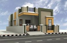 Single Floor House Design, Bungalow House Design, Small House Design, Modern House Design, Floor Design, Front Elevation Designs, House Elevation, Building Elevation, Front Wall Design