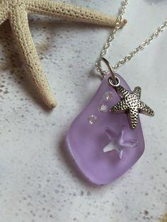 Starfish Sea Glass Necklace  Beach Glass by SeasideJewelry1