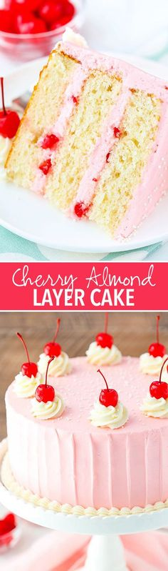 Cherry Almond Layer Cake - a light almond cake, cherry frosting and bits of cherry between the cake layers! So good! #cakebaking