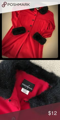 Fire Red Coat This is the perfect party jacket to wear over that little black dress. It is embellished with black faux fur on the neckline and cuffs. Dry Clean Only. Positive Attitude Jackets & Coats Pea Coats
