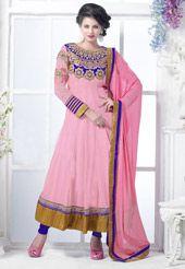 Pink Faux Georgette Anarkali Churidar Kameez