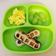 Today we had cheesy scrambled eggs, blueberry waffle sticks and some green Toddler Finger Foods, Healthy Toddler Meals, Toddler Lunches, Toddler Menu, Kids Meals, Healthy Finger Foods, Toddler Food, Baby Food Recipes, Cooking Recipes