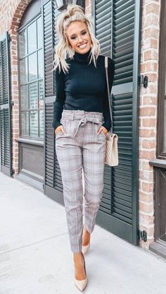how to style a pair of plaid pants : black top bag heels