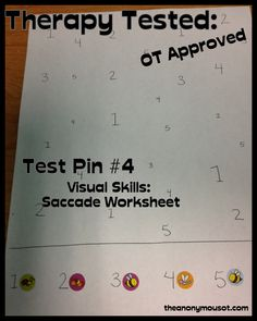 We tested a visual skills saccade worksheet in occupational therapy to develop scanning & ocular motor skills. Learn to create a visual scanning worksheet. Occupational Therapy Schools, Physical Education Games, Health Education, Physical Activities, Sensory Activities, Sensory Kids, Education Logo, Team Building Activities, Physical Therapy