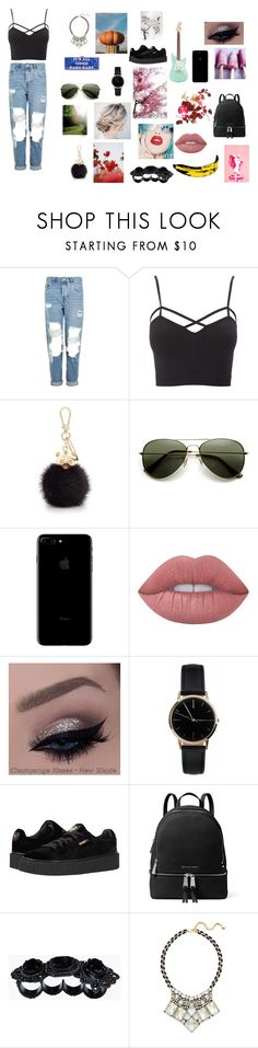 """""""You my truth"""" by withered-ros ❤ liked on Polyvore featuring Topshop, Charlotte Russe, Furla, Lime Crime, Freedom To Exist, Puma, MICHAEL Michael Kors, Free Country, Andy Warhol and GUINEVERE"""