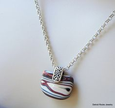 Fordite Necklace. Fordite Pendant Jewelry.  Motor City Agate.  Sterling Silver…