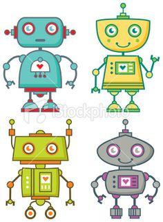 Four Cute Robots Royalty Free Stock Vector Art Illustration