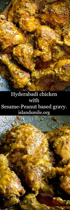 Hyderabadi chicken with a sesame-peanut gravy base. this indian curry makes a perfect one pot meal to share with friends and loved ones. indian I one pot I gluten-free I dinner I main meal I curry(Chicken Dishes) Indian Chicken Recipes, Indian Food Recipes, Asian Recipes, Indian Chicken Marinade, Indian Chicken Gravy Recipe, Fish Recipes, Lobster Recipes, India Food, Chicken Korma Recipe
