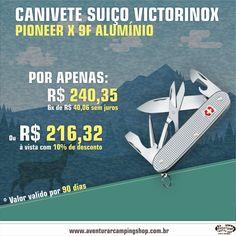 CANIVETE SUIÇO VICTORINOX! POR APENAS: R$ 240,35 / 6x DE R$ 40,06 SEM JUROS www.aventurarcampingshop.com.br/pesquisa/?p=canivete+suiço
