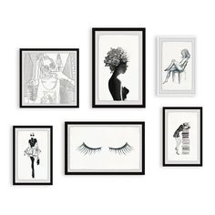 Marmont Hill 'Fashion on All Angles' Hexaptych Wall Art (Set of x Multicolor Framed Art, Framed Prints, Woodland Nursery Decor, Fall Mantel Decorations, Animal Decor, Animal Nursery, Black Decor, Wall Art Sets, Star Wars Art