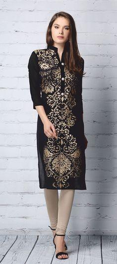 KU-112 - Black - Kurties - Ladies Wear - Diya Online