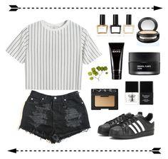 """Stripes"" by lilac-stars ❤ liked on Polyvore featuring Chicnova Fashion, adidas, NARS Cosmetics, Butter London, Marc Jacobs, Koh Gen Do, MAC Cosmetics, Balmain and Dot & Bo"