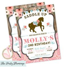 This is a cute horse birthday invitation for a girl. Great for western themed birthday parties, cowgirl invitations, or a pony party. This listing is for the invitation ONLY in printed or printable format. SEE PRINTABLE PARTY PACKAGE DETAILS HERE: Horse Theme Birthday Party, Horse Party, Cowgirl Party, 6th Birthday Parties, Birthday Party Invitations, 3rd Birthday, Birthday Ideas, Pink Birthday, Birthday Images