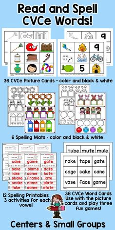 Practice reading and spelling long vowel CVCe words with this versatile set of spelling mats, picture and word cards, and spelling printables! Perfect for centers or small group work!