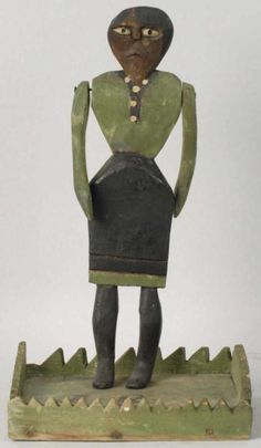 "Folk Art Primitive Black Woman with jointed shoulders.  Signed J.R.. Circa 1880. Size 12 - 1/2"" T."