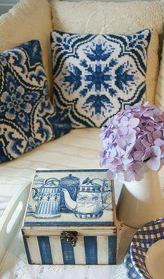 Beautiful Blue Teapot Decoupage Box Handmade.