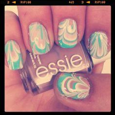 Nail marbling in pastels.