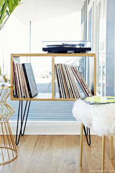 Taller hairpin legs on record cabinet