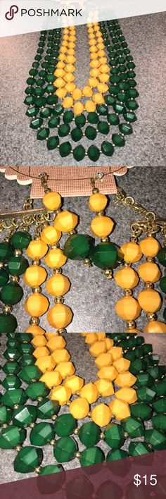 💕💕💕NWT necklace set!!! 🎉🎉🎉So pretty! Necklace and earrings set! (Pierced ears) Green and yellow! I love this color combo! Retails for $48 Jewelry Necklaces