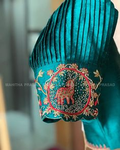 Blouses of art and culture😍For those extremely beautiful Kanjeevaram sarees. Handmade love 💕 for brides all the way from 'Mahitha Prasad'… Blouse Designs Silk, Designer Blouse Patterns, Bridal Blouse Designs, Stylish Blouse Design, Hand Designs, Sleeve Designs, Embroidery Designs, Wedding Embroidery, Baby Embroidery